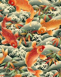 Japanese Embroidery Fish Koi, Cherry Blossoms and Fish - Japanese Koi, Japanese Fabric, Japanese Prints, Japanese Culture, Koi Art, Fish Art, Koi Kunst, Feng Shui, Art Chinois