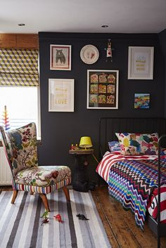 Kids bedroom designed by Sophie Robinson in her signature black with pops of bright colour which is ideal for a kids room as the brights look striking against the dark interior. photograph by Alun Callender Great Interior Design Challenge, Best Interior Design, Dark Interiors, Shop Interiors, Sophie Robinson, Kids Bedroom Designs, Home Decor Trends, House Colors, Room Inspiration