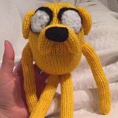 Jake the dog! Customer order for a friend of mine his son said he was 'sick'  #anotherhappycustomer #knit #jakethedog #knitting #adventuretime #yellowdog #yarn #knittedtoys #toys #adventuretimewithfinnandjake  #finn #happy #woof #dog #wool #custom #commission