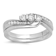 Elora 14k Gold 1/2ct TDW Round Diamond Swirl Bridal 3-stone Engagement Ring Set (H-I, I1-I2) (White Gold - Size 10), Women's