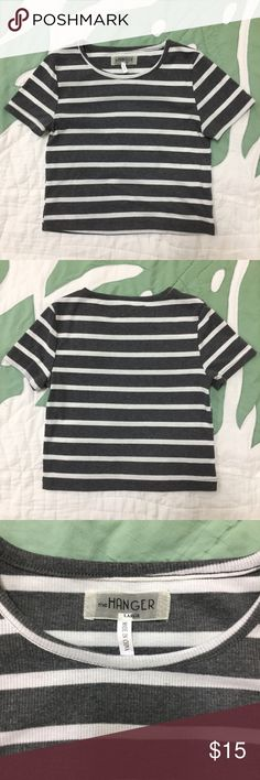 """The Hanger Striped Crop Tee in Grey/White Never worn. The Hanger tee with a slightly cropped fit and grey and white stripe pattern. Approx. 17"""" from shoulder to hem. 60% polyester 35% cotton 5% spandex. Very simple and cute! Marked as Large but will best fit a size Small. The Hanger Tops Tees - Short Sleeve"""