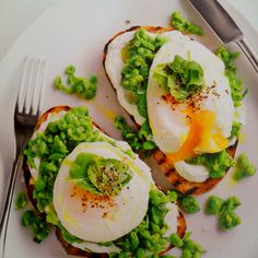 smashed pea, goat's cheese and egg bruschetta..