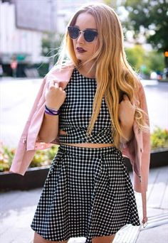 Gingham+Co-Ord+Twin+Set