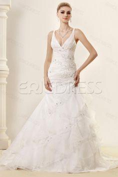 Elegant Mermaid Deep V-Neck Vintage Tiered Dasha's Wedding Dress.