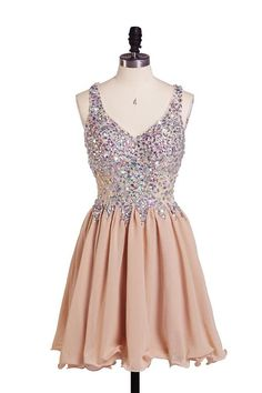 Hanyige Exquisite A-line V-neck Chiffon Homecoming Dress With Rhinestone on Luulla