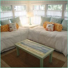 Sleeping porch.. and a simple window treatment for light and privacy