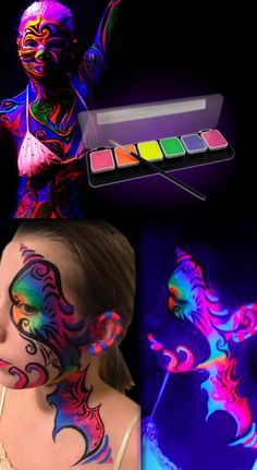 Glow in the dark body paint! Paint amazing and colourful designs.