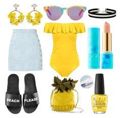 """Beach Please"" by thepainted-lady on Polyvore featuring Schutz, VANINA, Balmain, Miss Selfridge, OPI, tarte and TOMS"