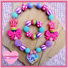 My Little Pony Chunky Necklace, MLP necklace, Rainbow Dash, Pinkie Pie… Frozen Necklace, Kids Necklace, Girls Necklaces, Necklace Set, Little Girl Jewelry, Kids Jewelry, Jewelry Making, Chunky Bead Necklaces, Chunky Beads