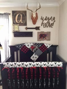 2 Day Ship Boy Crib Bedding Buck Deer Black Arrows Lodge Red Black Buffalo Check Aztec and Black Woodland Nursery Set Baby Boy Crib Bedding, Baby Boy Cribs, Baby Boy Rooms, Baby Boy Nurseries, Modern Nurseries, Quilt Baby, Nursery Themes, Nursery Decor, Plaid Nursery