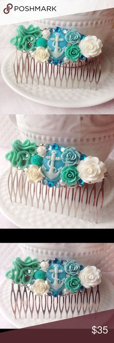 Nautical Anchor & Octopus Rose Hair Comb Another gorgeous hair comb made by yours truly✨This one features colors of light blue, white & Teal. Several roses are surrounding the  white & blue anchor cameo. Rhinestones & faux pearls are hiding amongst the roses and a lovely teal colored octopus rests in the corner. All adornments are securely attached to the comb. Comb is silver filigree. Can be worn for several occasions! Would be absolutely stunning for a wedding on the beach✨Handmade & brand…