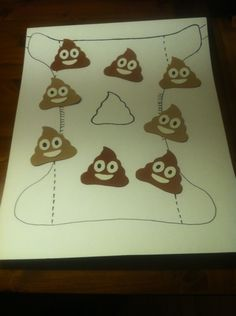 Pin-the-Poop-on-the-Diaper. Classic game with a twist. Baby shower game