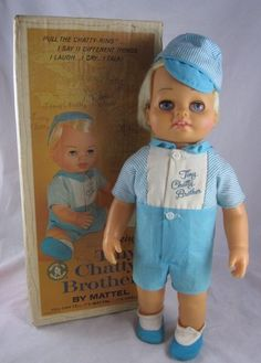 Vintage Tiny Chatty Baby Brother Talker Doll Works Box Chatty Cathy