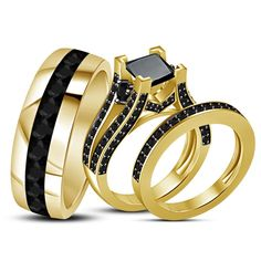 14K Yellow Gold Diamond Wedding Trio His And Her Bridal Band Engagement Ring Set #affordablebridaljewelry