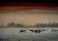 Alaskan Wolves.  Oil on canvas.  22X28  by William Webster