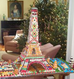 Colorful candy-covered Eiffel Tower