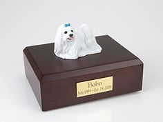 GENUINE North American Hardwood and Maltese Ribbon Dog Figurine Urn Blue Small >>> Continue to the product at the image link. (This is an affiliate link and I receive a commission for the sales)