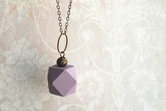 """Geometric  necklace """"African Violet"""" // Minimal style jewelry // lilac wood bead necklace // boho jewelry"""