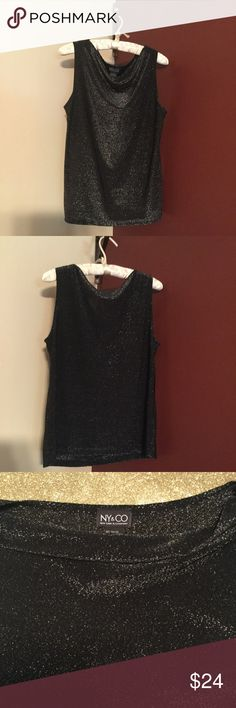 Sleeveless Evening Tank New York & Company Black with Silver Sparkles / Sleeveless Tank / 85% Rayon / 15 % Polyester / Wash separately / Machine Wash Cold / Tumble Dry Low / On-Trend / Gently Worn New York & Company Tops Tank Tops