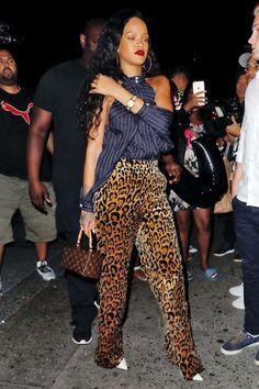 Rihanna wearing Dries Van Noten Panter Wide Leg Pants, Dion Lee Dion Lee Sleeve Release Top in Striped Navy