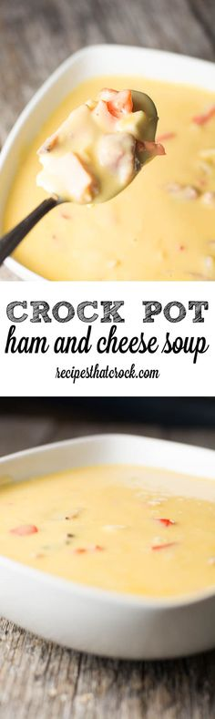 Crock Pot Ham and Cheese Soup: Delicious cheesy soup  much like O'Charley's Potato Soup only with ham instead. Perfect leftover ham recipe for your slow cooker.