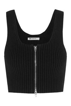 T by Alexander Wang|Cropped ribbed-knit cotton-blend top|NET-A-PORTER.COM
