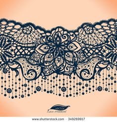 Abstract lace ribbon seamless pattern with elements flowers. Template frame design for card. Lace Doily. Can be used for packaging, invitations, and template.Vector lace ornament. Arabic pattern. - stock vector