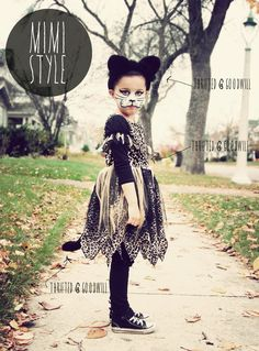 Have 2 cheetah/ leopard skirt! Thights & ballet top, make ears on headband. Then the makeup. Hmmm, what to stuff to make a tail ? Fabric store for thin furry yardage ? ALady Design Thrift : MIMI-STYLE: BUDGET HALLOWEEN KITTY COSTUME