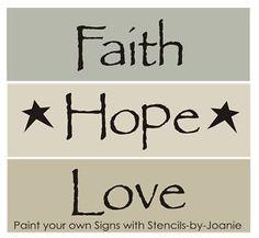 free primitive stencils | Stencils Faith Hope Love Primitive Home Country Signs | eBay