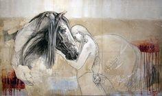 Artodyssey: LÉA RIVIÈRE #horse and girl #art #painting