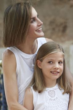 Queen Letizia of Spain and her daugther Princess Sofia of Spain pose for the photographers at the Marivent Palace on August 3, 2015 in Palma de Mallorca, Spain.