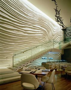 Grazing light at Blue Fin restaurant, New York. Design: Yabu Pushelberg,