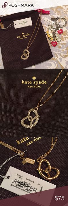 """NWT kate spade NYC Pretzel Pendant Necklace! NWT, authentic Kate spade. Beautiful NYC pretzel gold necklace- pave stones make it look like it has salt on it! Comes with Kate spade jewelry pouch ***NYC keychain shown in photo 2 not included!!** MATERIAL: 12-karat gold plated; metal & glass stones FEATURES: lobster claw closure; style # o0ru0771. DETAILS: length: 32"""" weight: 12.9 g, handcrafted. TRADES. kate spade Jewelry Necklaces"""
