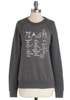 Be Right Throwback Sweatshirt by Rachel Antonoff - Cotton, Knit, Mid-length, Grey, Novelty Print, Casual, Quirky, Sweatshirt, Grey, Long Sle...