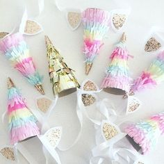 Image of Unicorn horn party hat. Ideal for a unicorn themed birthday party