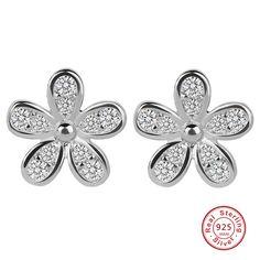 Bling Jewelry Double Flower CZ Daisy Sterling Silver Dangle Earrings jzV26PI
