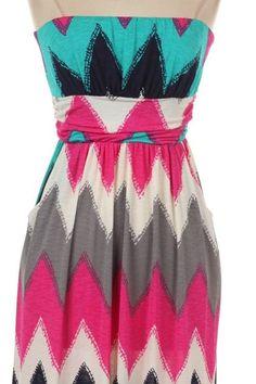 Chevron Print Tube Maxi Dress (2 Colors Available)
