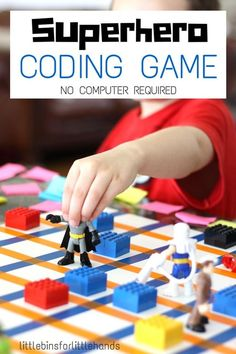 Superhero computer coding game STEM activity no computer needed to learn some basic computer coding skills! Great kindergarten STEM activity to learn computer coding. Fun Superhero activity!  Get all the directions at:  http://littlebinsforlittlehands.com/superhero-computer-coding-game-without-a-computer/