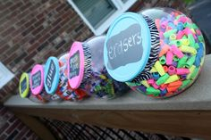 Cute DIY containers for classroom.  Love the crayon idea for separating the colors... kids spend forever looking for a color.