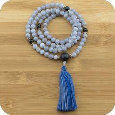 Blue Lace Agate Meditation Mala Necklace with Blue Tigers Eye - Meditative Wisdom