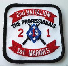 2ND BATTALION 1ST MARINES Military Veteran Biker US MARINE Patch PM0646 EE