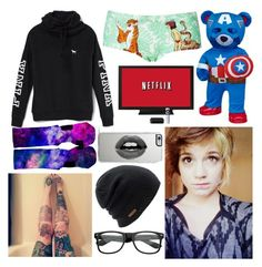 """""""Lol Netflix and chill"""" by avengersroleplay ❤ liked on Polyvore featuring Victoria's Secret, Topshop, Coal and Lipsy"""