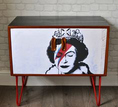 Upcycled Vintage Retro Mid Century G Plan Cabinet with Banksy's Queen Bowie Print Decoupage on Red Industrial Hairpin Legs by ThriftysRetro on Etsy Upcycled Furniture, Painted Furniture, Diy Furniture, Upcycled Vintage, Retro Vintage, Upcycled Cabinet, Leg Painting, Teak Oil, Hairpin Legs