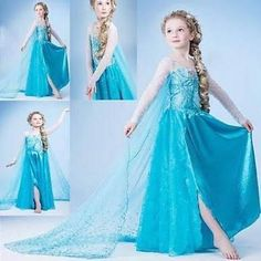 Frozen Elsa Anna Costume Disney Princess Girls Child Fancy Outfit Long - Brought to you by Avarsha.com