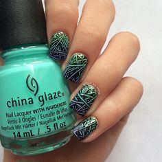"""chinaglazeofficial on Instagram: """"How cool are these nails by @nails.by.teens using China Glaze 'White Out' and 'Too Yacht To Handle'? Learn how to get this look on her page!"""""""