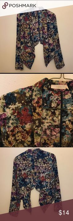 LUSH Cropped Draping Blazer Stylish floral blazer, cropped from the back, longer and drapes in the front, shoulder pads. Has some wear as shown in the 4th picture, but still in very good condition! Accepting reasonable offers. Perfect for spring/summer! Lush Jackets & Coats Blazers
