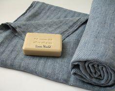 Asciugamano grande lino 100%. Blu a spina di pesce lino telo bagno / telo mare / baby Blanket. Biancheria da bagno in lino naturale organico. Trend
