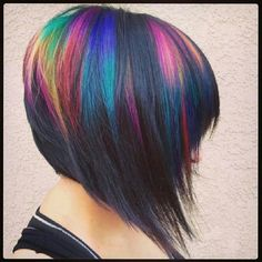 I keep thinking I should darken most of my hair to blue-black and keep a few lighter, brighter pieces dyed with Pravana Vivids and Neons for an oilslick effect. I LOVE this color! I love the bob too but I'm not cutting my hair, still growing it out.