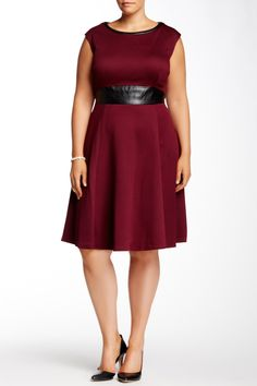 London Times | Cap Sleeve Inset Waist Fit & Flair Dress (Plus Size) | Nordstrom Rack