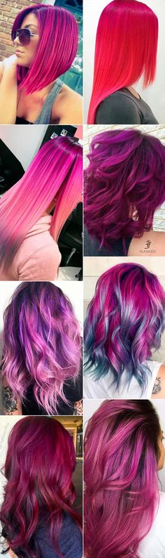 Magenta hair color is perfect for daring ladies who are not scared of experimenting with the way they look. There are big variety of magenta sh… Magenta Hair Colors, Purple Hair, Pelo Multicolor, Haircut And Color, Coloured Hair, Cool Hair Color, Hair Colour, Crazy Hair, Hair Today